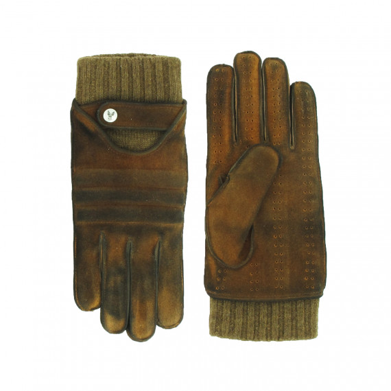 1de791eaab7c8 Driving gloves in vintage full grain deerskin worked on the suede side,  double thread cashmere fixed inside glove, wide quilted lines on the back  of the ...
